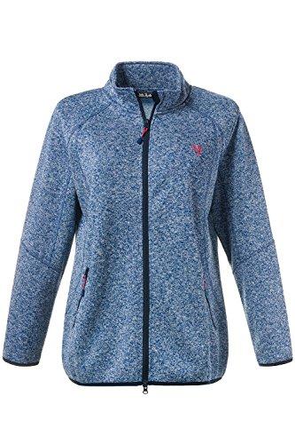 Ulla Popken Femme Grandes tailles | Veste Sweat-shirt Polaire Jacket Manches Longues | 708782 bleu brume