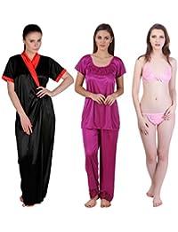 Freely Satin Full Robe, Nightsuit & Lingerie Set - 3 Pcs. Set