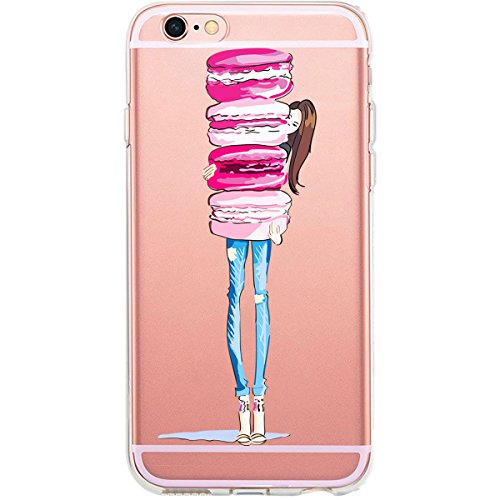 GIRLSCASES®   iPhone 6-6S Plus Hülle   Im Schmetterling Blumen Motiv Muster   in rosa pink   Fashion Case transparente Schutzhülle aus Silikon Donut Girly