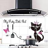 CAIDUD Schwarze Katze Prinzessin Oil Proof Wasserdichte Herd Wandaufkleber verhindern Rauch Aufkleber-Küche Fettdicht Aufkleber