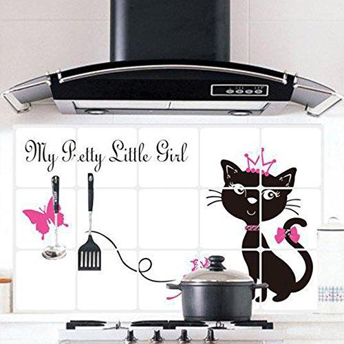 Etiqueta engomada impermeable de la pared del hogar de la prueba del aceite de la princesa del gato negro previene la etiqueta engomada a prueba de grasa de la etiqueta del humo de la cocina