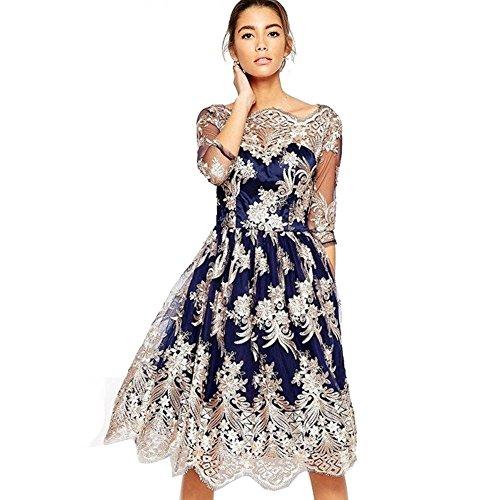 Vintage Kleid Frauen Tüll Stickerei 3/4 Langen Ärmeln Schlanke Taille Cocktail Party Spitze Langen Rock S-Xl . Blue . S (Quinceanera Kleid Stickerei)