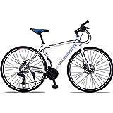 Marco De Acero De Alto Carbono Bicicleta De Carretera Carreras 21 Velocidad Mango Recto Frenos De Disco Doble Velocidad De Bicicleta De Carretera Hombres Y Mujeres Bicicleta De Ciudad,Whiteblue
