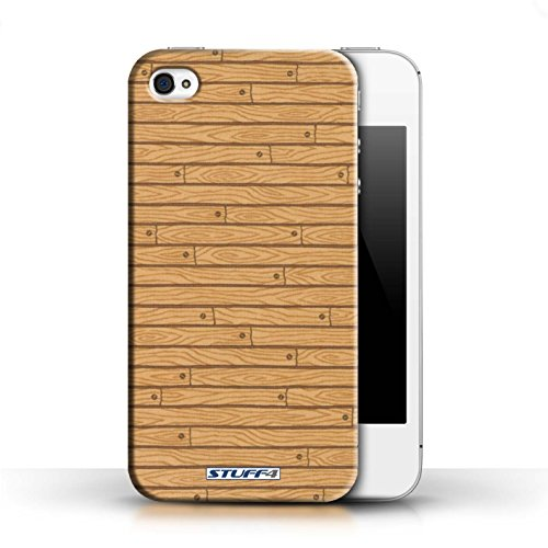 KOBALT® Hülle Case für Apple iPhone 4/4S | Rosa Entwurf | Holz-Muster Kollektion Holz