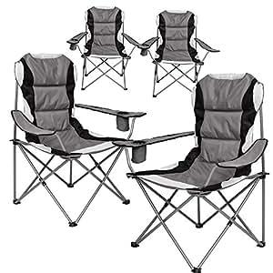 Miadomodo Fauteuil de camping avec sac de transport rembourré en kit en gris/noir, charge maximale 100kg (105x 93x 65cm)–Choix de Set 4er-set