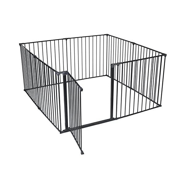 Safetots Play Pen (Black, 144 x 144 cm) Safetots Perfect solution for keeping baby in a safe area whilst they rest and play Includes 1x 72cm Gate Opening Panel and 7x 72cm Panels Extra wide door section for easy access 1