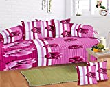 Exporthub Premium 8 Piece 120 TC Cotton Diwan Set - Pink