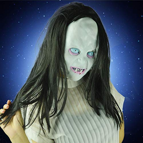 LLCOFFGA Halloween Thriller Kopfbedeckungen Scary Face Mask Schwarzes Haar Ghost Festival Zubehör Cosplay Festival Kostüm Maske Make Up Party Bar Party Latex - Thriller Kostüm Mädchen