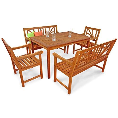 indoba® IND-70105-LOSE5GB2 - Serie Lotus - Gartenmöbel Set 5-teilig aus Holz FSC zertifiziert - 2 Gartenstühle + 2 Gartenbänke + rechteckiger Gartentisch mit Schirmöffnung