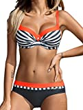 AHOOME Damen Bikini Push Up Gepolstert Streifen rayures Triangel Brasilianische Bademode Bikini-Sets(Orange,XL)