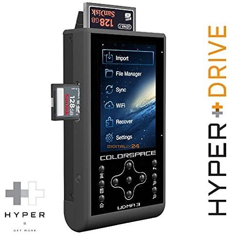 "2000 GB / 2TB HDD HyperDrive COLORSPACE UDMA3 Professioneller mobiler Fotospeicher mit integriertem CF/SDXC Kartenleser und externe WiFi Festplatte (6,35 cm (2,5"") SATA HDD, USB 3.0, WiFi 802.11n 150 Mbit/s, 8,9 cm (3,5"") Backlit-LCD, USB-OTG, 3x CF/SDXC Reader, 30MB/s Backup, Inkrementelle Datensicherung, 2600mAh Akku). UDMA 3 mit integrierter 2000GB / 2 TB Festplatte (HDD). Angebot von Digitalix24."