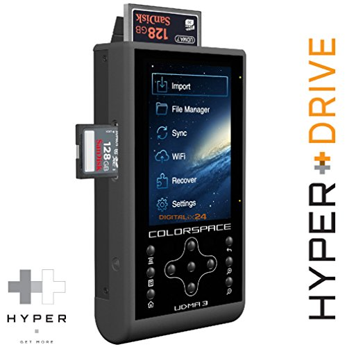 500 GB HDD HyperDrive COLORSPACE UDMA3 - Hard Disk Esterno, Professionale mobile stoccaggio immagine con integrato lettore di schede CF/SDXC e Portatile Wireless Hard Disk / WiFi Drive (6,35 cm (2,5 ') SATA HDD, USB 3.0, WiFi 802.11n 150 Mbit/s, 8,9 cm (3.5') Backlit-LCD, USB OTG, 3x lettore di CF/SDXC, 30MB/s backup, il backup incrementale, 2600mAh batteria). UDMA 3 with integrated 500 GB Hard Disk Drive (HDD). Offer of Digitalix24.