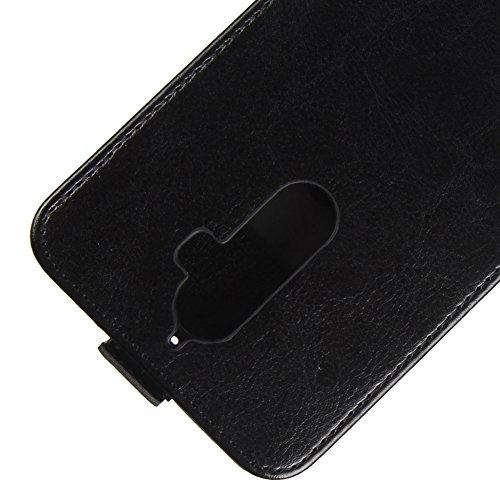 KM-WEN® Schutzhülle für Apple iPhone X (5,8 Zoll) Bookstyle Ledertasche mit Magnetverschluss PU Leder Wallet Case Flip Cover Hülle Tasche Schutzhülle mit Standfunktion Kartenfächer für Apple iPhone X  Up-Down Offen Schwarz