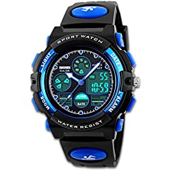 Mens Digital Sport Watch Army Watches Black Dual Time Display LED Backlight Hourly Chime Alarm Clock Calendar Function Outdoor Wrist Watch Shock-proof Watch Soft Band 50M Waterproof