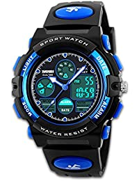 2ce2217681c Men s Digital Sports Watch Army Analogue Watches Black Dual Time Display  LED Backlight Hourly Chime Alarm