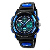 Men's Digital Sports Watch Army Analogue Watches Black Dual Time Display LED Backlight