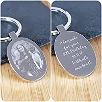 Personalised Gift Engraved Photo Keyring - Double Sided Engraving, Free Gift Bag and UK P&P - Birthday, Memorial, Anniversary, Wedding, Gifts for Him, Gifts for Her