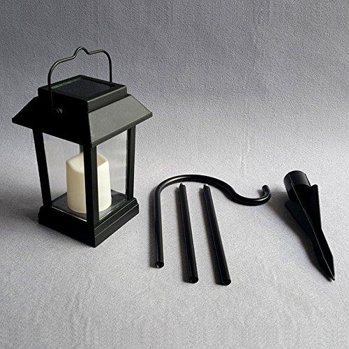 LEDMOMO Im freien Wasserdichte LED Solarlaterne Lichter Kerze Lampe von Flackernden Flammeneffekt Lichter für Garten Terrasse Rasen Balkon Pathway (kleine Fenster Grille Typ) (Stil Im Outdoor-lampe Freien)