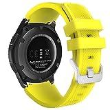 MoKo Gear S3 Frontier Smartwatch Bracelet en Silicone Souple pour Samsung Galaxy Watch 46mm / Galaxy Gear S3 Frontier / S3 Classic/Moto 360 2nd Gen 46mm, Pas Compatible avec S2,S2 Classic,Fit2, Jaune