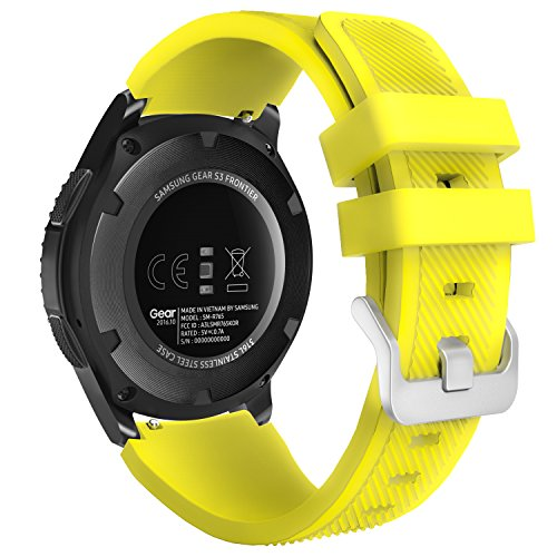 MoKo Compatible con Gear S3 Frontier/Galaxy Watch 46mm / Classic/Moto 360 2nd Gen 46mm Correa - Watch Band Deportiva de Silicona Suave Reemplazo Sport Band - Amarillo