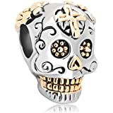 Pugster New Gold Plated Dia De Los Muertos Skeleton Skull Cross Charm Beads Fits Pandora Bracelet