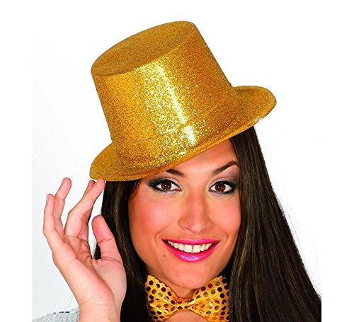 Fiestas Guirca Cappello in plastica Cilindro Glitter Oro