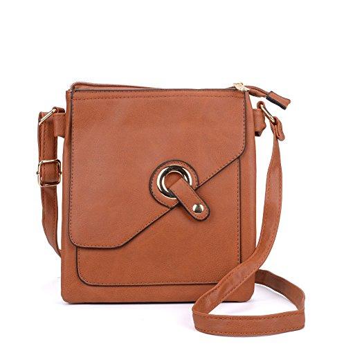 SALLY YOUNG Mode-Frauen-Qualitäts-PU-Leder Across Body Bag mit Gurt (tan) - Tan Gurt