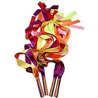 MUROAD 4 Piezas 1M Cintas arco iris, Cintas de Gimnasias Rítmicas, Cintas de malabares, juguetes Cintas de baile para niños