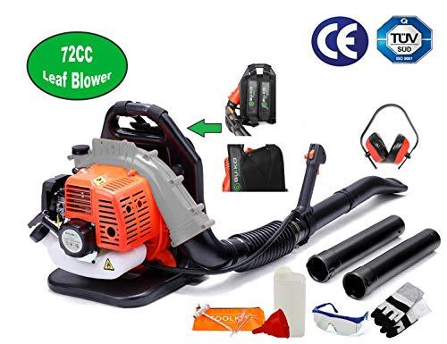 BU-KO 72CC Soffiatore per foglie di benzina - Potente motore raffreddato ad aria a 2 tempi - Leggero con cinghie di supporto imbottite nuove e migliorate durante l\'utilizzo - Attrezzatura di sicurezza