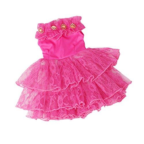 D DOLITY Süße Puppe Kleid Prinzessin Tüll Partyleid Kleidung für 18'' American Girl Puppe Dress Up - Rosig