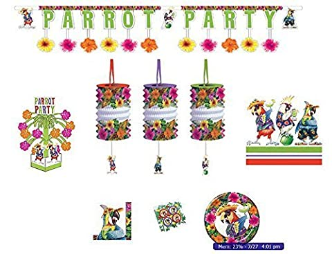 Parrot Luau Hawaiian Deluxe Party Set - 16 Plates, 16