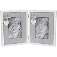 QUALITY PROVENCE GREY SHABBY CHIC HINGED HEART DOUBLE PHOTO FRAME HOME 5x3 by SC Gifts