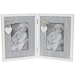 Idea Regalo - Qualità Provence Grigio Shabby Chic con cornice portafoto doppia cuore casa 12,7x 7,6cm