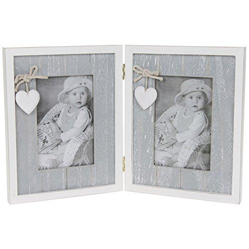 SC Gifts - Doppia cornice di qualità con cerniera e cuori, in stile provenzale shabby chic, 12,7 x 20,3 cm, colore: grigio