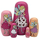 Pivizon 5pcs Set Of Russian Nesting Dolls Angel Girl Pattern Matryoshka Madness Wooden Dolls For Kids Toy Birthday Gift Idea For Daughter