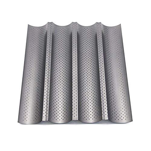 Zilong Baguette-Backblech/Baguetteblech/Baguetteform/Backblech, 4 Mulden mit Antihaftbeschichtung für Backen, 37,8 x 32,7cmx2,5cm, Grau