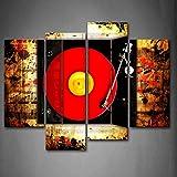 Disco In Rosso E pulsanti Di Studio Pittura di arte della parete La stampa su tela di canapa Musica Quadri d'illustrazione per l'ufficio domestico Decorazione moderna