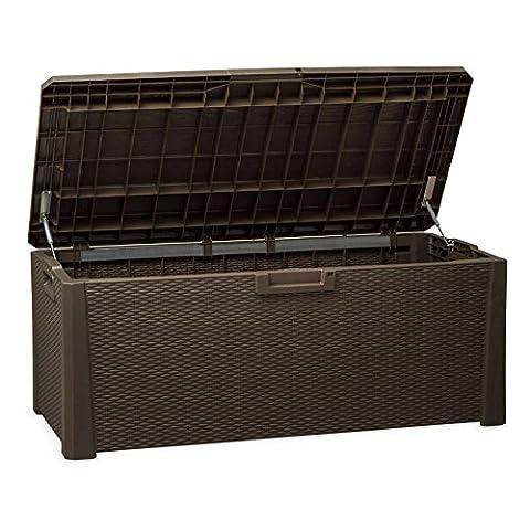 TOOMAX Nevada 550Liter stabiler Kunststoff Rattan italienischen Stil Design abschließbar-Wetter und UV-beständig Mehrzweck-Aufbewahrungsbox, braun