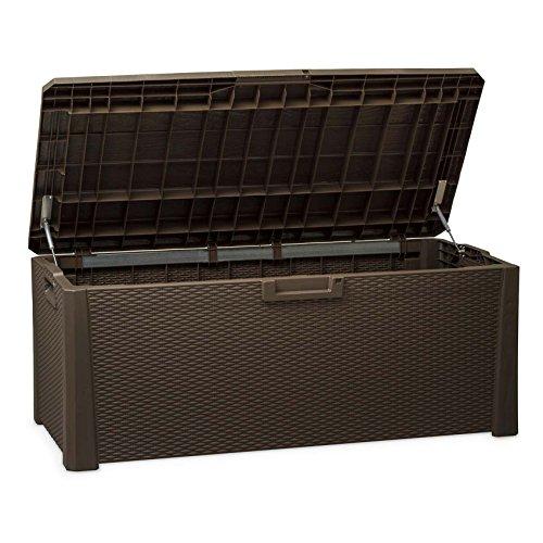 TOOMAX Nevada 550Liter stabiler Kunststoff Rattan italienischen Stil Design abschließbar-Wetter und UV-beständig Mehrzweck-Aufbewahrungsbox, braun (Riesen-kurze Leder)