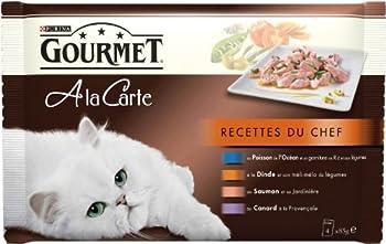 Gourmet a La Carte Recettes du Chef au Poisson de l'Océan - 4 x 85 g -  Sachets Fraîcheur pour Chat Adulte - Lot de 12