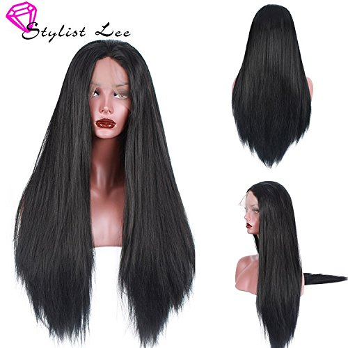 Stylistlee Synthetic Light Yaki Straight Lace Front Wigs 250% High Density Free Part Heat Resistant Fiber Hair Half Hand Tied Replacement Hair Wigs For Women (28\\
