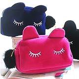 Gono Cute Cat Große Kapazität Frauen Kosmetiktasche Make-up-Aufbewahrungstasche Geldbörse Tasche, Flanell, hot pink, Einheitsgröße