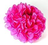 MissBirdler PomPoms Pink 3er Set Ø 20cm Blumen Deko für Geburtstag Hochzeit Grillparty Garten Fest Feier Babyshower PomPom Auffaltbares Seidenpapier Dekoration Pompon Ponpon Papierblume zum Aufhängen Papier Puschel Papierblume Girlande