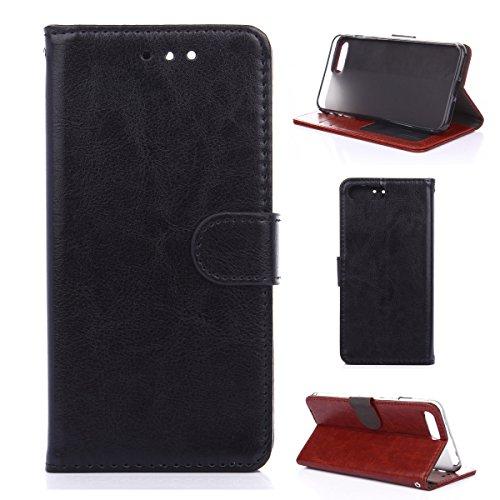 iPhone 7Plus Hülle,Fodlon® Mode Brieftasche mit Karte Schlitze Telefon Schutzhülle -Braun schwarz