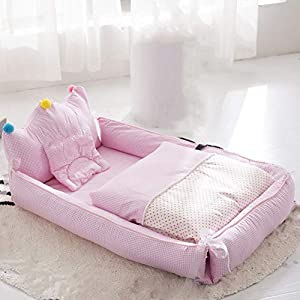 Baby Lounger - TINGYIN100% Cotton Newborn Portable Bassinet Crib,Breathable and Hypoallergenic Sleep Nest Newborn Lounger Pillow for Bedroom/Travel Camping - E   5