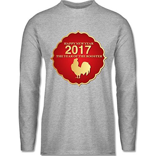 Weihnachten & Silvester - Happy New Year 2017 Year of the Rooster - Longsleeve / langärmeliges T-Shirt für Herren Grau Meliert