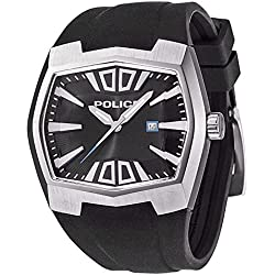 Police Axis Men's Mechanical Watch with Black Dial Analogue Display and Black Rubber Strap 13834JS/02