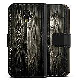 DeinDesign Samsung Galaxy S4 mini Tasche Leder Flip Case Hülle Ebenholz Look Holz Schwarz Holzwand