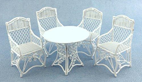 Puppenhaus Gartenmöbel Weiß Schmiedeeisen Terrassen Set Tisch 4 Stühle