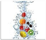 Wallario Herdabdeckplatte/Spritzschutz aus Glas, 2-teilig, 60x52cm, für Ceran- und Induktionsherde, Obst-Eiswürfel-Mix im Wasser mit weißem Hintergrund